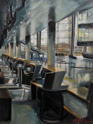 Euroairport Bâle Freiburg Mulhouse- Gissinger-Mariele-Peinture-huile-Peinte-Artiste-Art-gm-Alsace-France